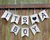 IT'S A BOY Burlap Garland - Baby Shower Decor - Baby Boy - Baby Shower Banner - Nursery Decor - Gender Reveal - Polka Dots