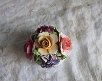Vintage England  Porcelain Floral Yellow Pink  Roses Vase