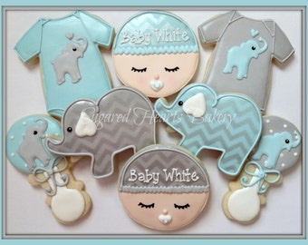 Elephant Baby Shower Cookies - Personalized Chevron Baby Blue and Gray - 1 Dozen