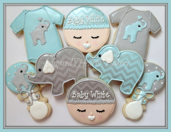 Elephant Baby Shower Cookies Personalized Chevron Baby Blue