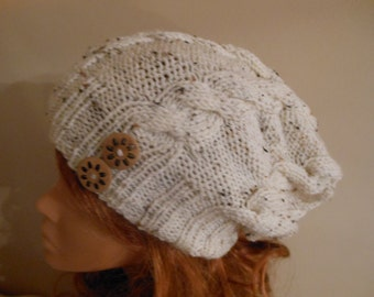 Hand Knit Cable Slouchy Beanie Hat Acrylic Oatmeal with Buttons