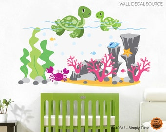 Turtles Wall Decals - Ocean Wall Decals - Sea Animal Decals