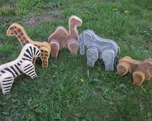 Wooden vintage hand carved animal set of 5 zebra lion giraffe camel elephant  Vintage used old style wood keepsake hand painted.
