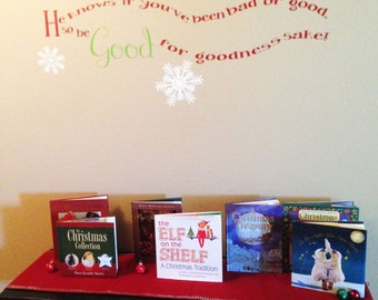 Christmas Vinyl Decal// Santa Wall Art // He Knows If You've Been Bad Or Good Vinyl Lettering