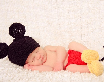 Mickey Mouse Inspired Newborn Crochet Hat, Diaper Cover, and Bootie Set