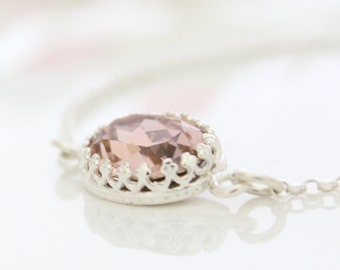 Pink lavender silver bracelet | Dainty silver bracelet set with a vintage rose rhinestone