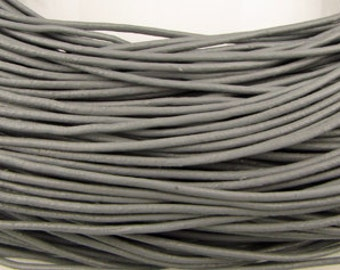 1.5mm round  leather cord, Gray ,9 feet