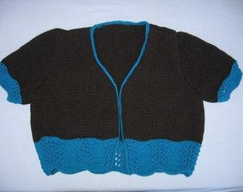 Black / Turquoise Short Sleeve Cropped Cardigan
