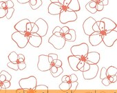 Lotta Jansdotter Mormor Collection Little Blomster in Coral - One Yard - Modern Coral Floral Fabric Windham Fabrics