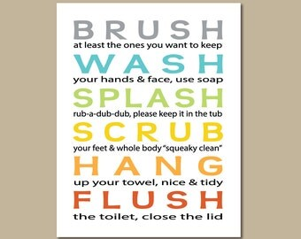 Kids Bathroom Art Prints Brush, Wash, Splash .. Subway StyleTypography Modern Home Decor  - 8x10, 11x14, 12x18 Childrens Wall Art