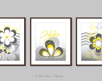 Abstract Flower Art Hope with Chevrons Wall Art Prints Set of (3) 5 x 7, 8 x 10 OR 11 x 14 // Shades of Grey and Yellow// Modern Home Decor