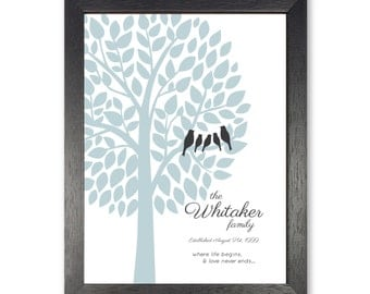 Family Tree Prints Personalized Modern Home Decor Wall Art - 8 x 10, 11 x 14 OR 12 X 16 // Gray, Black, Mute Blue, Charcoal - Gift Guide