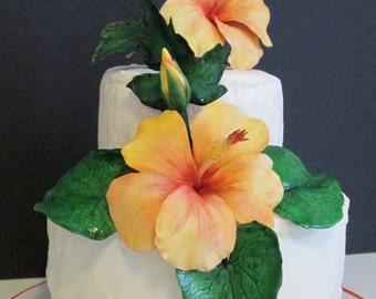 sugar flowers hibiscus cake topper edible gum paste tropical orange yellow wedding bridal mothers day birthday celebration