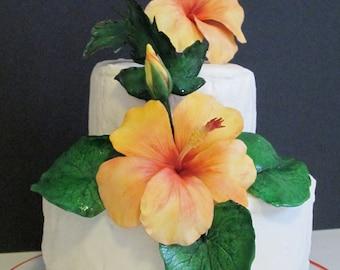 sugar flowers hibiscus cake topper edible gum paste tropical orange yellow wedding bridal mothers day birthday celebration