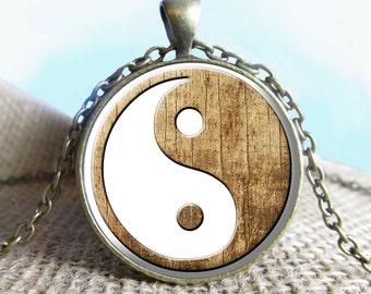 Wood Yin Yang Image Pendant Necklace, Yin and Yang, Yoga, Spiritual Jewelry