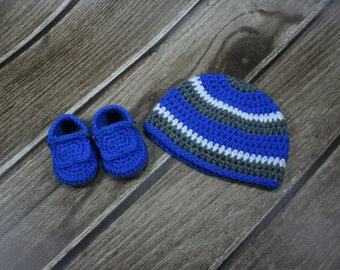 Boys Crochet Hat and Booties Set, 0-3 months, Blue, Gray, White