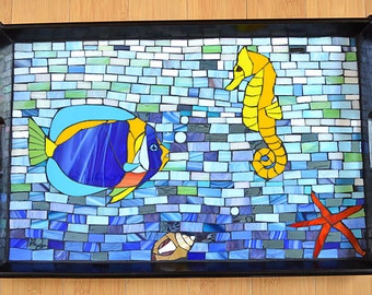 Handmade glass mosaic serving tray with sea creatures