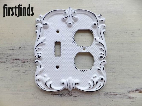 1 Shabby Chic White Electrical Outlet Cover Amp Switch Plate