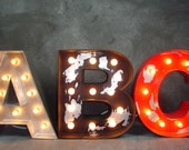 """12"""" Custom Industrial Style Lighted Wood Letters Marquee Letter Light"""