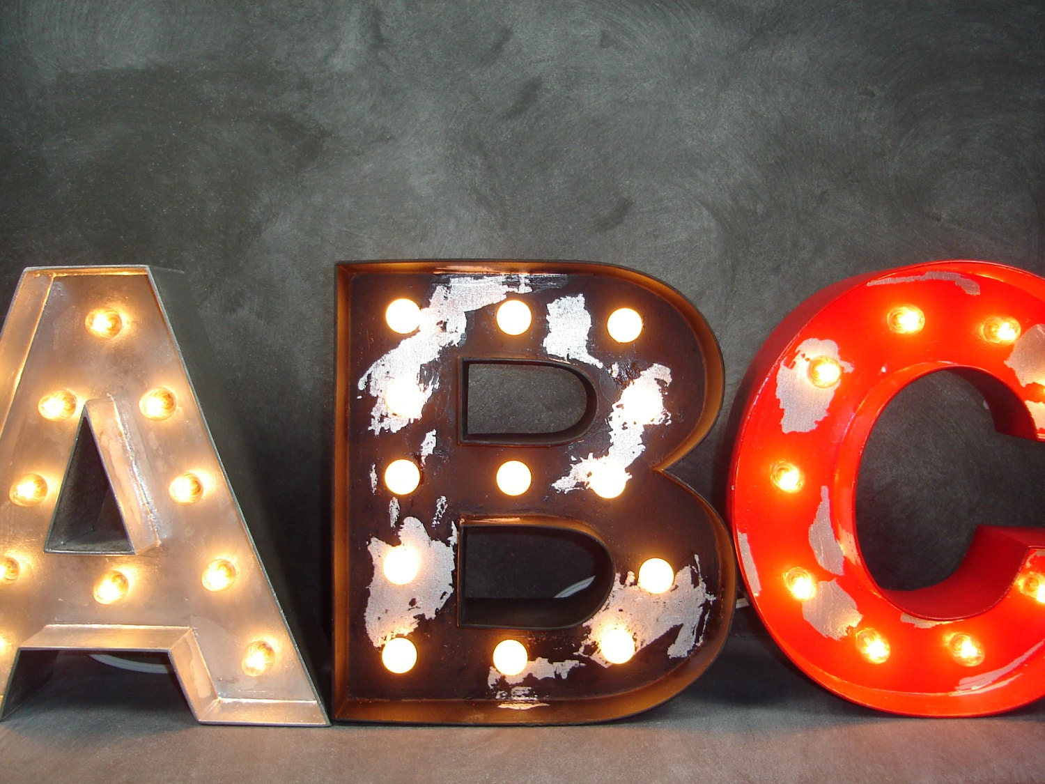12 custom industrial style lighted wood letters by With lighted wooden letters