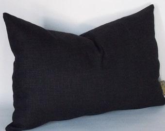 Lumbar Black Linen Pillow, 12x18 Cushion Cover, Decorative Pillow,Pillow Cover, Eurosham All Sizes