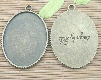 5pcs antiqued bronze lettering oval cameo cabochon settings EF1217