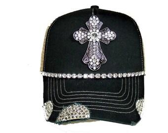 Black cross bling trucker hat