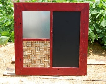 Distressed Painted Message Center/Distressed Frame/Cork Board/ Reclaimed Wood Frame
