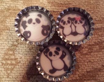 Adorable pandas bottlecap magnets