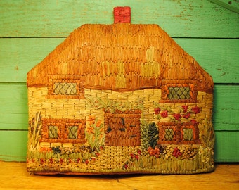 ANTIQUE TEA COZY handmade raffia Cottage with Flowers lined in silk very rare for tea British  english cottage chic golden