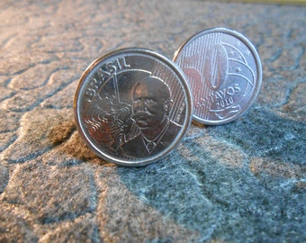 Brazil 50 Centavos Silver Toned Coin Cufflinks