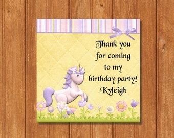 Unicorn GIft Tags KBI196GT Square Favor Tags, Editable and Printable-PDF Files, Instant Download