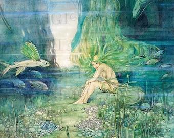 Splendiferous Gorgeous MERMAID!  Fairy Tale Vintage DIGITAL Illustration. Mermaid Digital Download. Mermaid Digital PRINT.