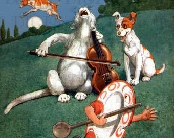 RARE. Spectacular HEY Diddle Diddle! Mother Goose VINTAGE Digital Illustration.  Digital Download Vintage Nursery Rhyme. Mother Goose Print