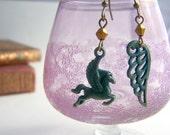 Mismatched earrings , asymmetrical earrings, pegasus earrings , wing earrings , Rustic Dainty whimsical earrings