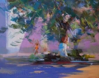 Modern landscape painting, Tree painting, Contemporary nature art, purple canvas art, landscape artwork oil art