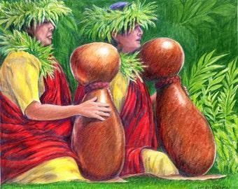 Hawaiian HULA, Hula Ho'opa'a, Hawaiian Ipu, Hula Performers, hawaii art