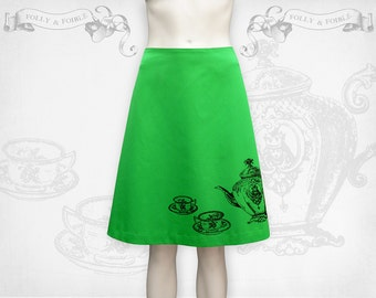 Alice in Wonderland Tea for two screenprinted cotton A-line skirt Green