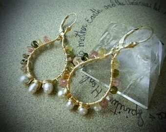 Multicolored Tourmaline and Pearl Goddess Adornment - Teardrop Dangle Earrings - Semiprecious Stone Pearl Gold Filled Earrings