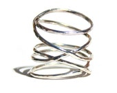 Sterling Silver Hammered Twisted Ring, Thin Silver Stacking Ring