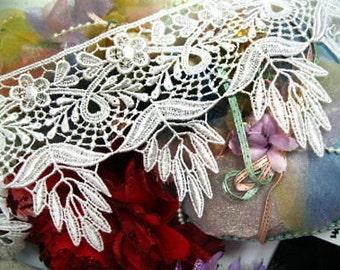 "DN171-4"" ~white flower Venise~Embroidered Trim~4"""