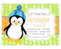 Penguin Invitation - Lime Green and Orange Dots, Adorable Winter Boy Penguin Personalized Birthday Party Invite - Digital Printable File