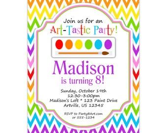 Art Party Invitation - Rainbow Chevron, Purple, Red, Yellow, Artist Paint Brush Personalized Birthday Party Invite - Digital Printable File