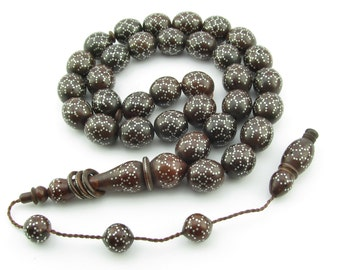 Big+ Tibet silver inlay coca tree beads 33 pcs Islamic Prayer Beads Misbaha Tesbih ottaman