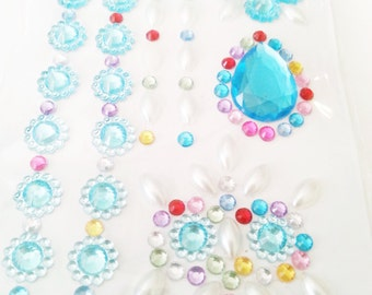 Deco Rhinestone sticker  sheet sparkling cell phone bling kawaii blue pearl