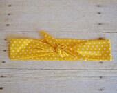6 Yellow with White Polka Dot Headwraps