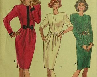"""Dress, Optional Bow - 1980's - Vogue Pattern 7556 Uncut  Sizes  6-8-10  Bust 30.5-31.5-32.5"""""""