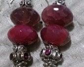 Genuine gemstone,  Swarovski crystal, and Balinese silver earrings