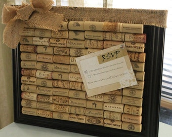 Custom Framed Wine Cork Corkboard with Burlap Accent Bow