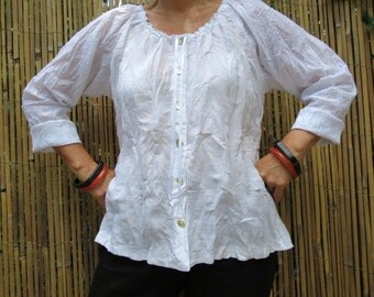 Women's  Linen Top, White Blouse, Handmade, Linen Clothing, Peasant Blouse, Cotton top, Maternity Top, Loose Top, Women's Blouse